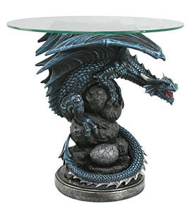 Roaring Guardian Dragon Glass Top End Table Fantasy Home Decor 22 Inch Tall