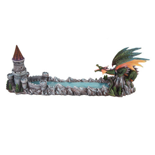 PTC 15 Inch Dragon with Moat and Castle Incense Holder Statue Figurine