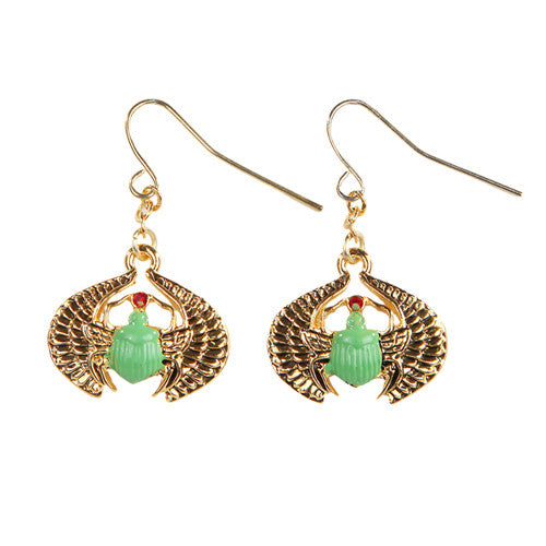 Egyptian Scarab Golden Pewter Earrings Jewelry- Mystica Collection