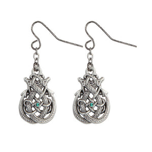 1 X Celtic Dragon with Green Crystal Pewter Earrings Jewelry- Mystica Collection
