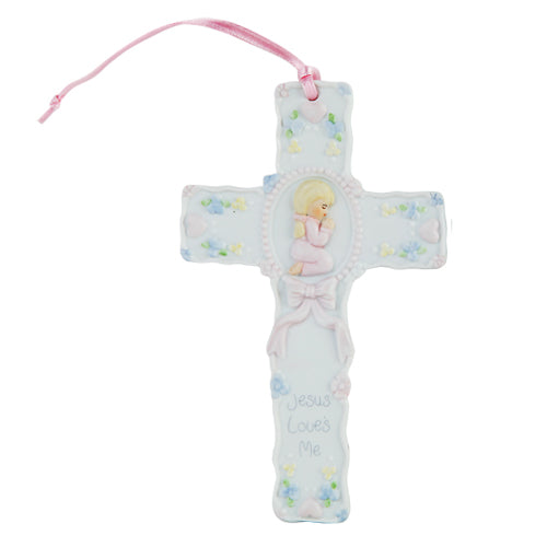 "Pacific Giftware Jesus Loves Me Prayer Little Girl Cross Statue Porcelain Bisque Finish Figurine, 5.5"" W"
