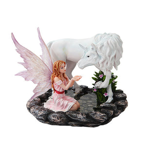 7 Inch Pink Winged Fairy with Unicorn on Pond Statue Figurine