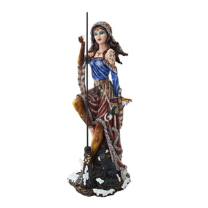 PTC 12.5 Inch Sun and Moon Witch with Cat and Broom Statue Figurine