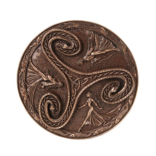 Pagan Wiccan Tripple Goddess Triskelle Wall Plaque in Bronze Patina