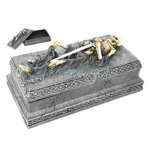 Skeleton Tomb Jewelry Box Collectible Statue Made of Polyresin