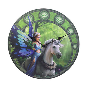 "Realm Of Enchantment Fairy With Unicorn 13.5"" Wall Clock Round By Anne Stokes"