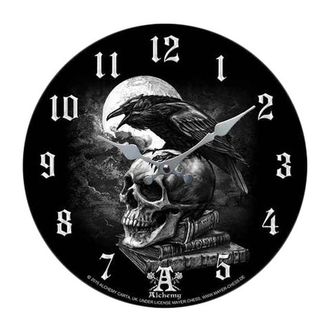 Poe's Raven Decor Wall Clock Round Plate Diameter 13.5""