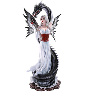 Pacific Giftware Large Black Dragon Protecting Fairy in White Dress Statue Collectible 24 Inch