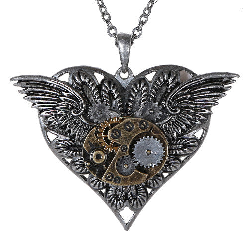 Steampunk Gearwork Angelic Wings Heart Necklace Alloy Pendant Jewelry