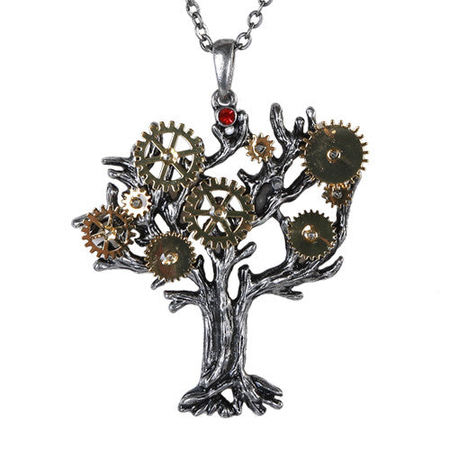 Steampunk Gearwork Tree of Life Necklace