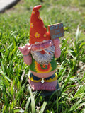 "Hippie Gnome Pot Smoking ""Keep On Grass"" Garden Gnome Statue 10H"