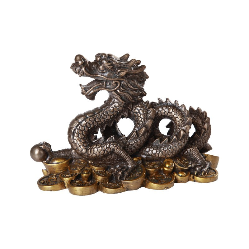 Oriental Fengshui Dragon Cast Bronze Finish Auspicious Collectible 7 inch L