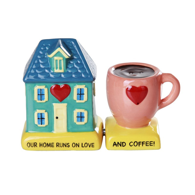 Home Runs On Love and Coffee Ceramic Magnetic Salt and Pepper Shaker Set