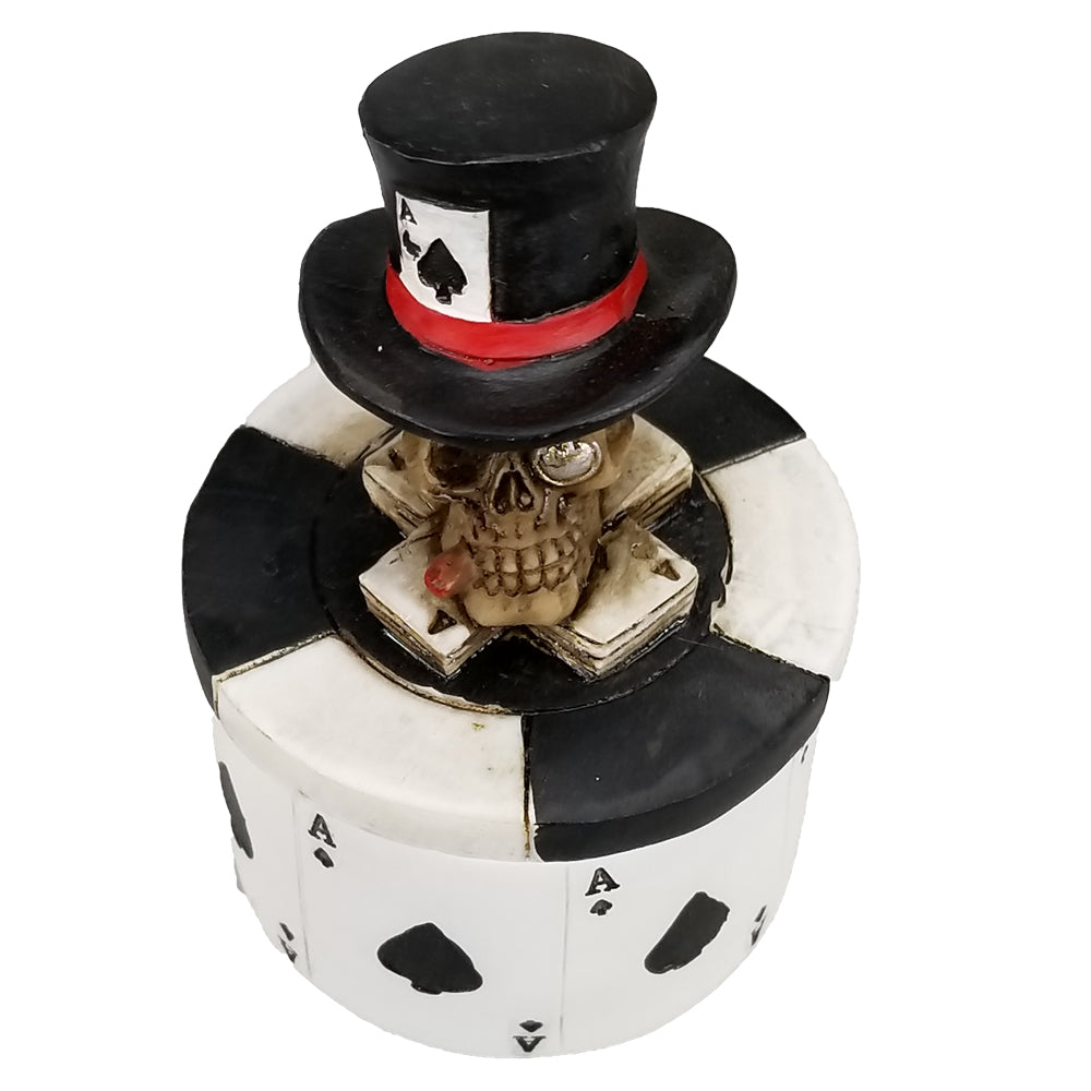 Poker Chips Ace Of Spades Trinket Box Human Skull Top Hat Vegas