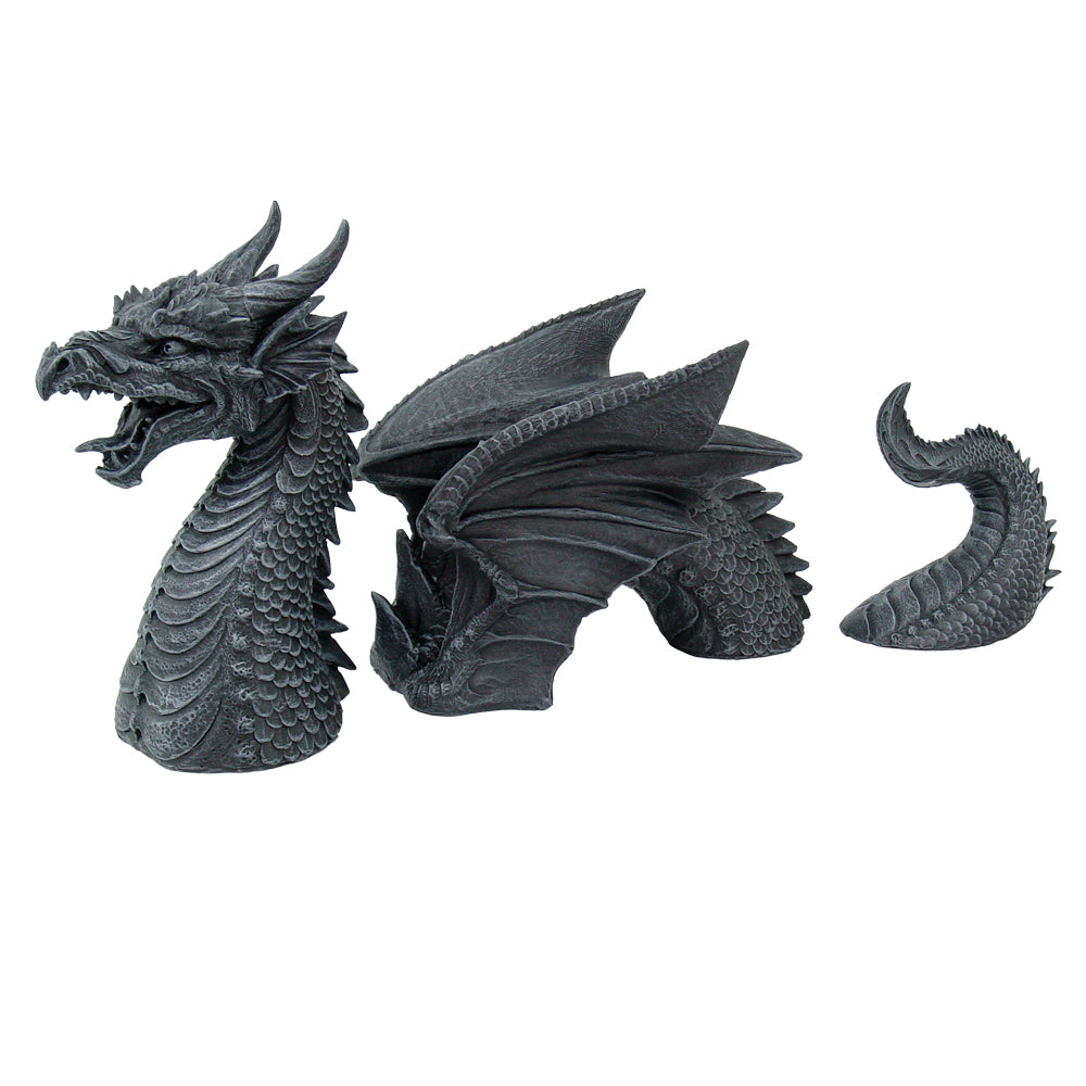 Medieval Fantasy Dragon Emerging From Lawn Statue Three Part Garden Decor