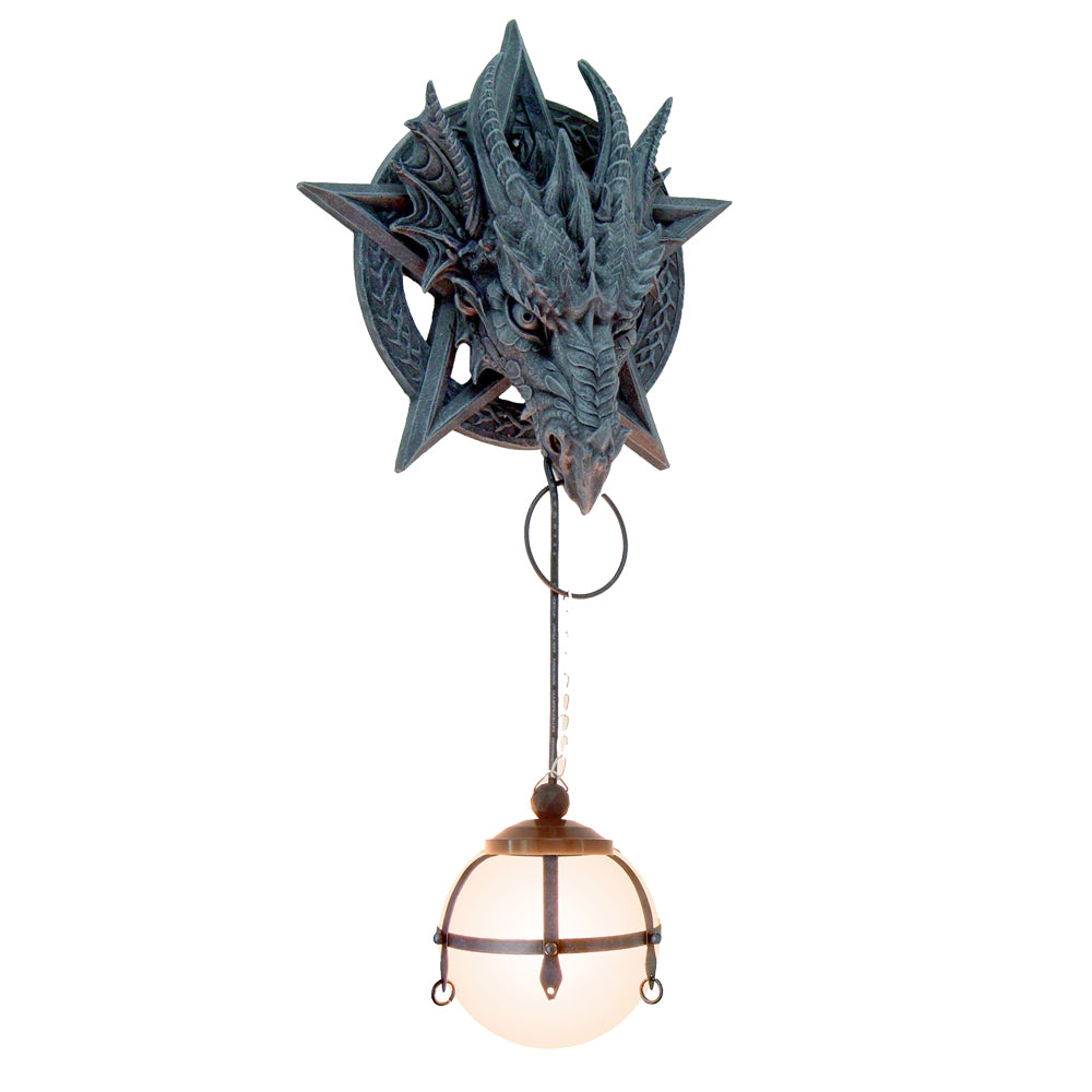 Medieval Fantasy Pentagram Dragon Sculptural Wall Lamp With Hanging Light Orb
