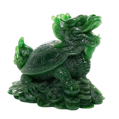 Feng Shui Jade Turtle Statue Money Fengshui Coins