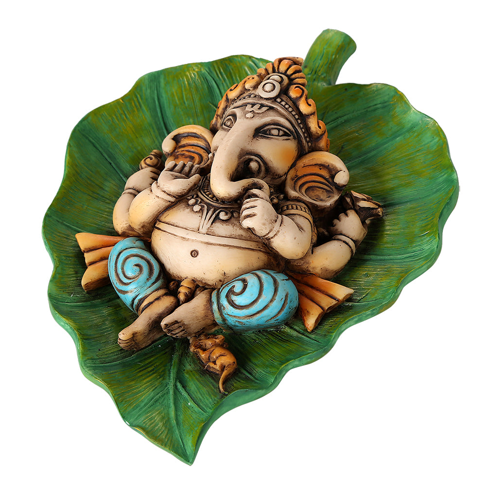 Pacific Giftware Lord Ganesha Laying On Peepal Banyan Leaf Supreme Hindu Deity Remover of Obstacles and Collectible Figurine