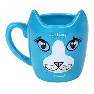 "Adorable Blue Therapy Cat Coffee Tea Mug "" Live, Love, Meow"""