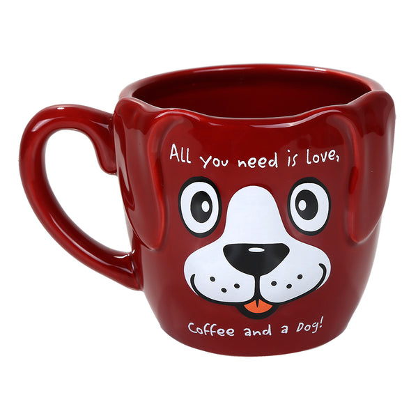 Adorable Red Maroon Pet Puppy Coffee Tea Mug All You Need Is Love Dog