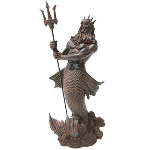 Greek God of the Sea: Poseidon Neptune with Trident Rising from the Sea Statue