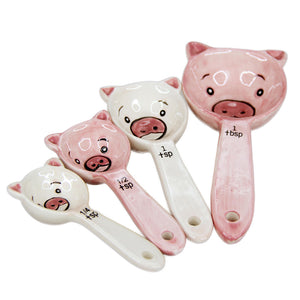 Adorable Piggy Measuring Spoon Set of 4 Kitchen Decor Pink Pig