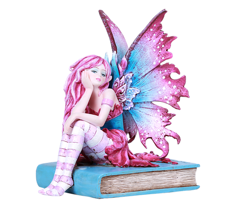 Thinking Library Book Faerie Statue by Amy Brown Book Worm Fairy Reading