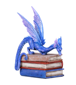 Text Book Dragon Library Book Statue by Amy Brown Studying Mystical Purple Dragon