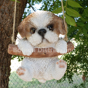 Cute Little Fluffy Shih Tzu Pup Hanging on a Branch Swing Playful Puppy Glass Eyes