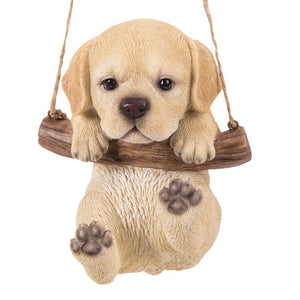 Cuddly Yellow Labrador Pup Hanging on a Branch Swing Playful Puppy Glass Eyes