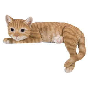 Realistic Looking Orange Striped Tabby Laying Cat  Glass Eyes Statue Kitten