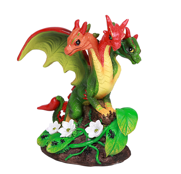Red Chili Pepper Vine Three Headed Dragon Statue by Stanley Morrison