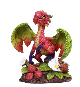 Raspberry Pattern Scaled Dragon Statue by Stanley Morrison Rasberries Leaf Wings