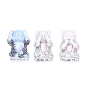 Master Meow Meditation Cat Ceramic See, Hear, Speak No Evil Figurine Set
