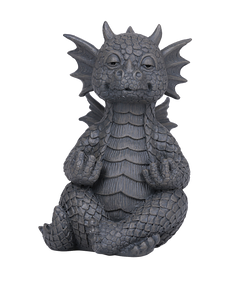 Small Meditating Yoga Dragon Garden Display Stone Finish Zen Wise Mind
