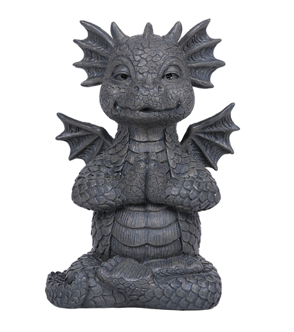 Small Meditating Yoga Dragon Garden Display Stone Finish Meditation Praying