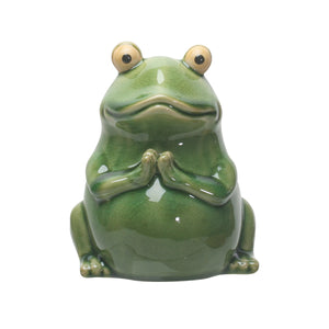Pacific Giftware PT Ceramic Meditation Pose Green Frog Outdoor Decorative Figurine