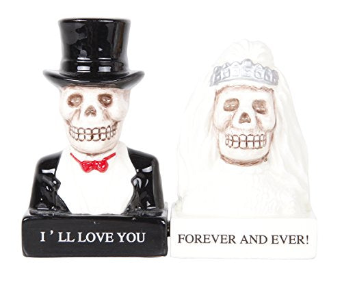 Love Never Dies Bride and Groom Day of the Dead Skeleton Couple Magnetic Salt and Pepper Shakers Gift Box Set Ceramic