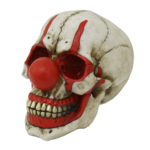 Red Nose Clown Cranium Human Skull Holder Box Trinket Container IT