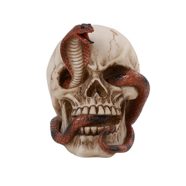 Human Skull With Red Cobra Eye Socket Statue