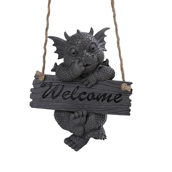 Pacific Giftware PT Garden Dragon Welcome Dragon Garden Display Decorative Accent Sculpture Stone Finish 10 Inch Tall