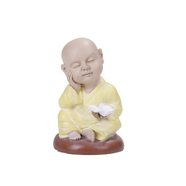 Seated Colorful Joyful Monk Lost in Thought Baby Buddha Resin Figurine
