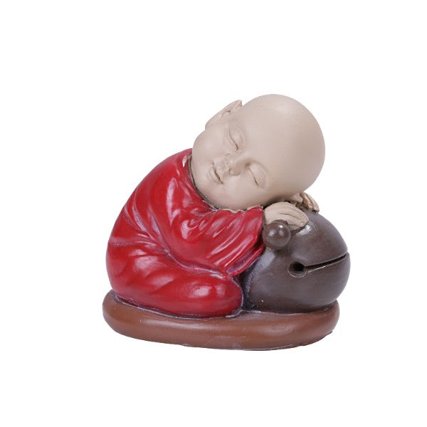 Seated Colorful Joyful Monk Resting on Drum Bell Baby Buddha Resin Figurine
