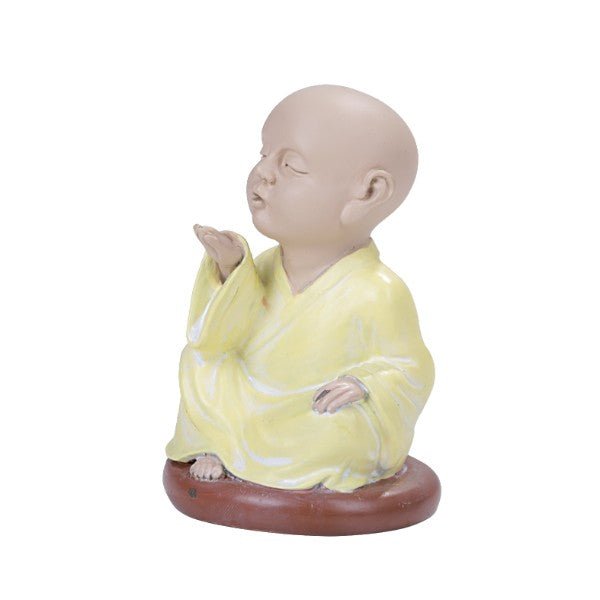 Seated Colorful Joyful Monk Blowing Kisses Baby Buddha Resin Figurine
