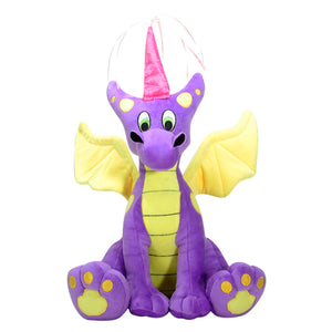 Purple and Yellow Medieval Princess Dragon Plush with Crown