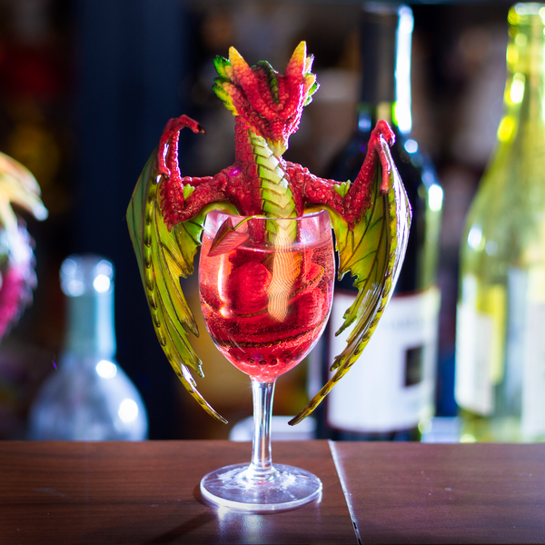 Pacific Giftware Liquor Daquiri Winged Dragon in Cup Resin Figurine By Stanley Morrison