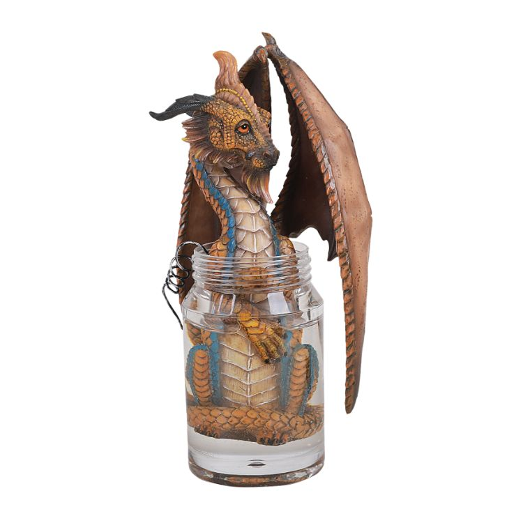 Pacific Giftware Liquor Moonshine Spirits Winged Dragon in Jar Resin Figurine By Stanley Morrison