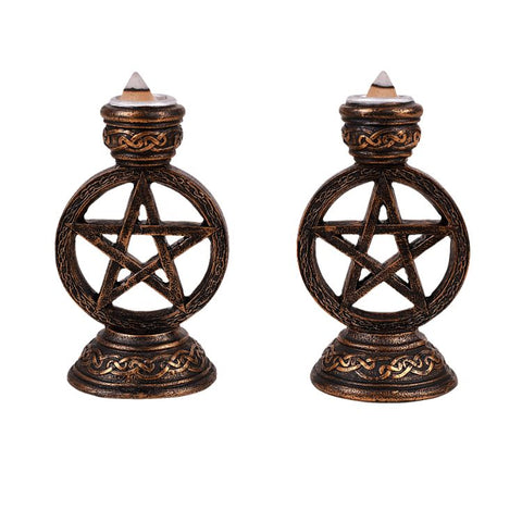 Wicca Pagan Witchcraft Pentagram Candle Incense Holder Set