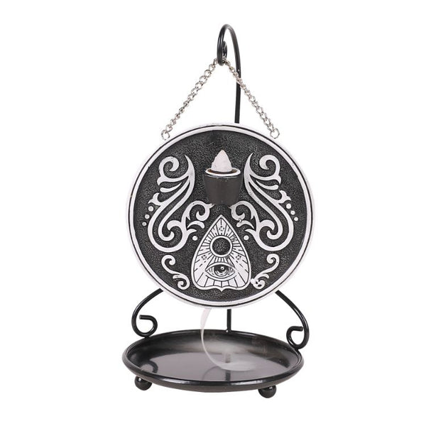 Mystical Spirit Black and White Ouija Board Backflow Incense Burner with Stand Home Decor