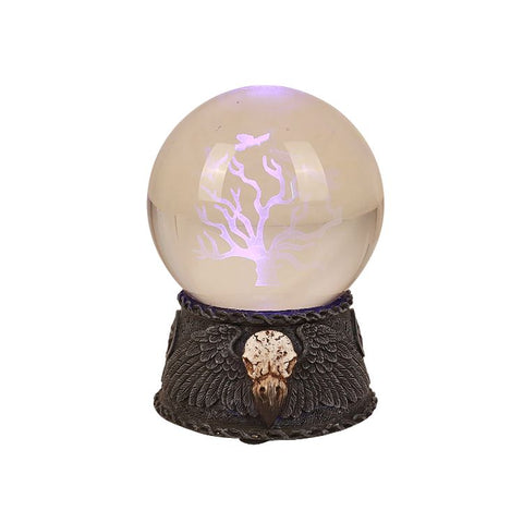 LED Sphere Ball with Gothic Raven Resin Base Home Decor